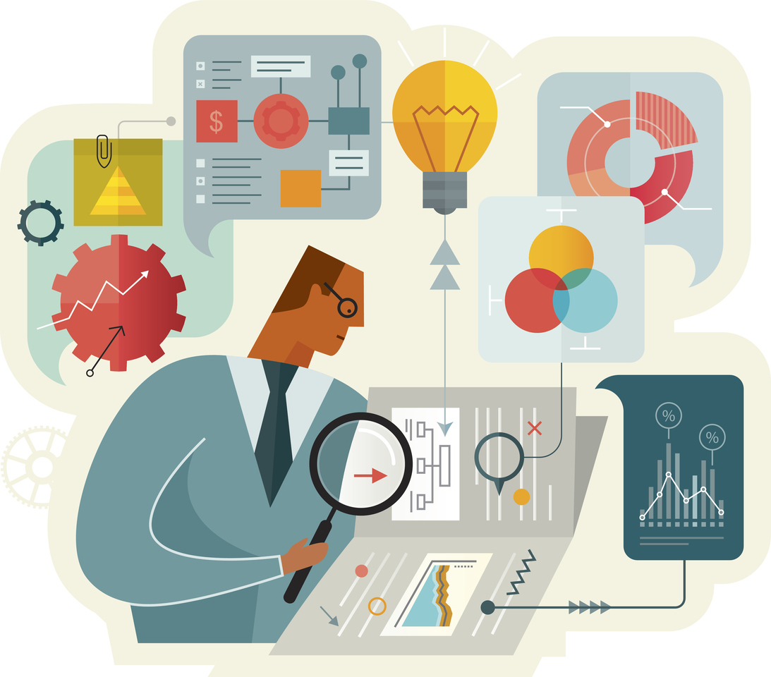 Flat vector illustration is showing a businessman while working on document analysis. Illustration is nicely layered and easy for editing.