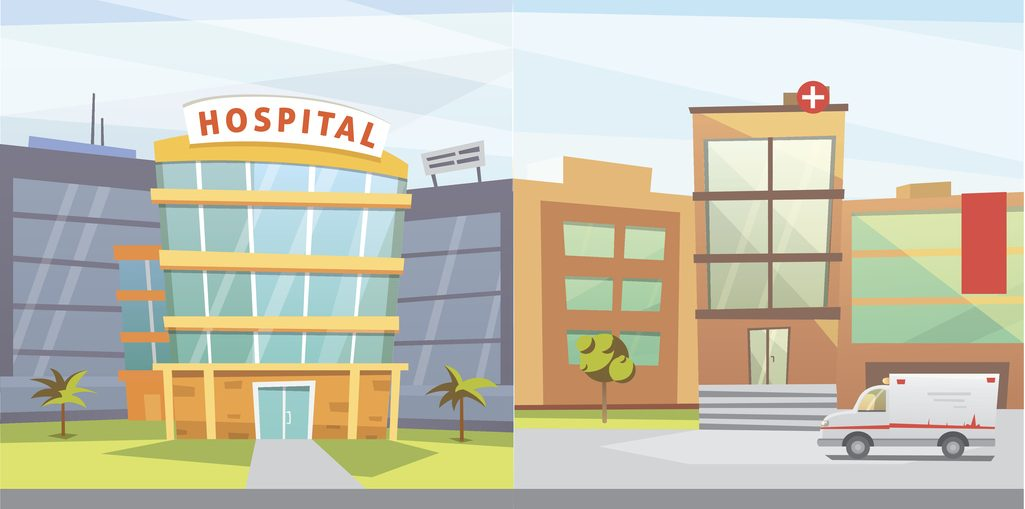 Set Hospital building cartoon modern vector illustration. Medical Clinic and city background. Emergency room exterior. Budgeting for Capital Equipment concept